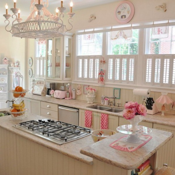 Inspiring-Vintage-Kitchen-Design-With-white-wooden-window-frame-and-kitchen-table-sink-oven-stove-cabinet-chandelier-and-wall-clock